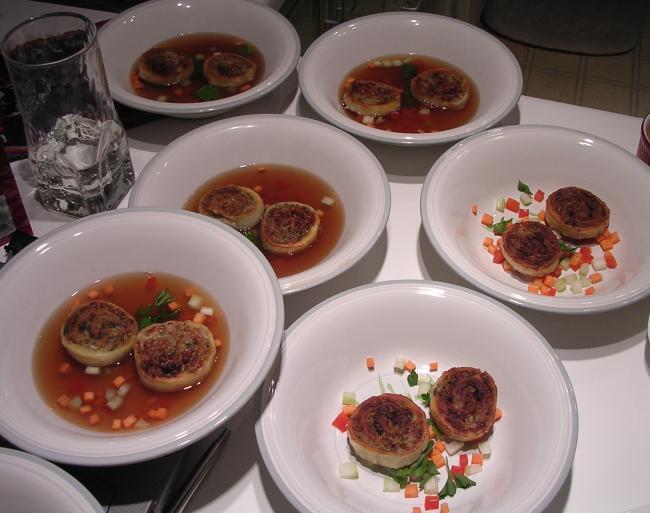Veal pinwheel soup
